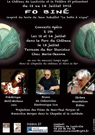 """FOBINÉ, à partir de """"La botte à nique"""" de Jean DUBUFFET le 21 juillet à AVIGNON  avec F. WOLF-MICHAUX, voix, J. BOUDELLON, flûtes, J.M. FOUSSAT, électroacoustique, J.P. FARGIER er G. MORGAN, vidéo"""